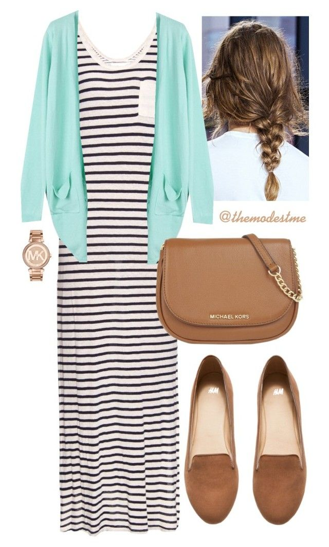 Mint & Stipes by themodestme on Polyvore featuring polyvore, fashion, style, Velvet by Graham & Spencer, WithChic, H&M, MICHAEL Michael Kors, Michael Kors, women's clothing, women's fashion, women, female, woman, misses and juniors