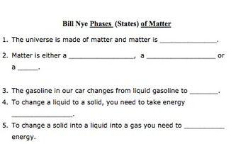 Bill Nye Phases Of Matter Video Worksheet Matter Videos Bill