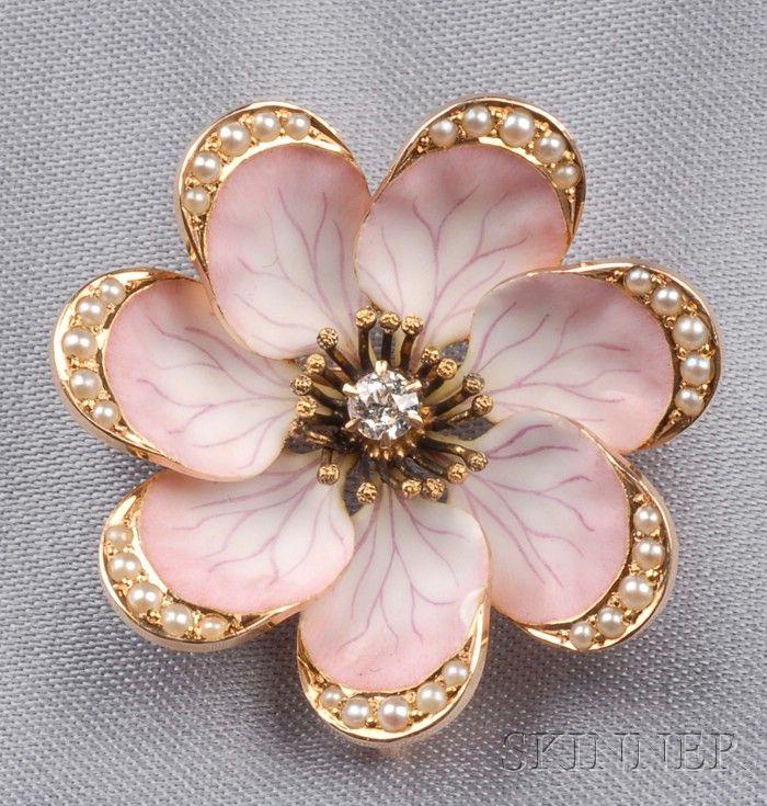 Antique 14kt Gold, Enamel, and Gem-set Flower Pin
