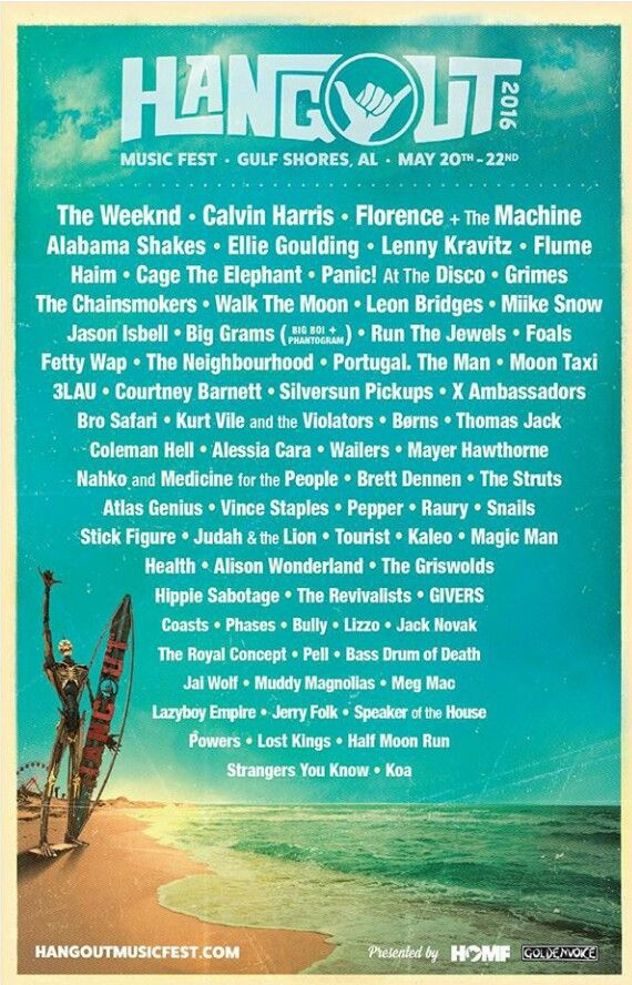 Awww Yeah!!!  Line up for Hangout Festival 2016