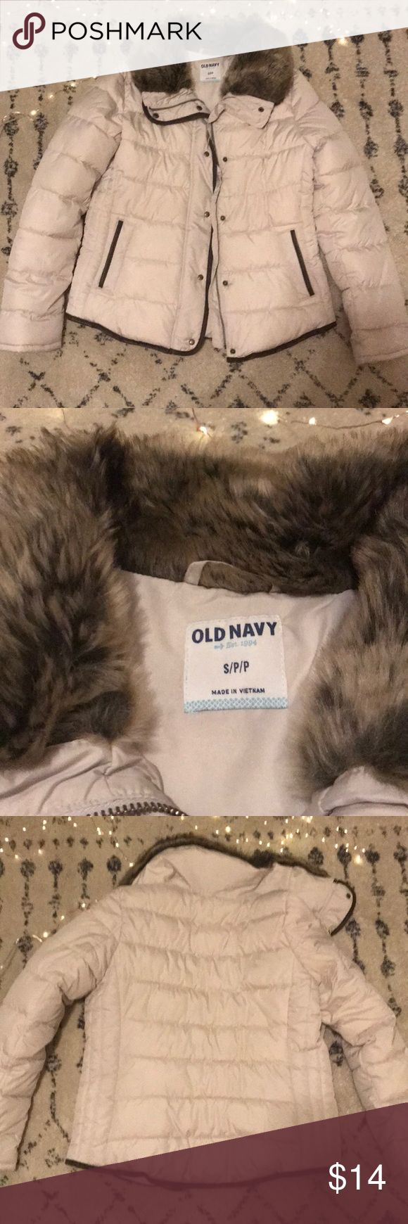 Warm Puffer Jacket So warm and only worn a couple of times! Fabulous condition! Brand Old Navy Size small Color is more of an off white/very light cream Fur hood does not detach Old Navy Jackets & Coats Puffers