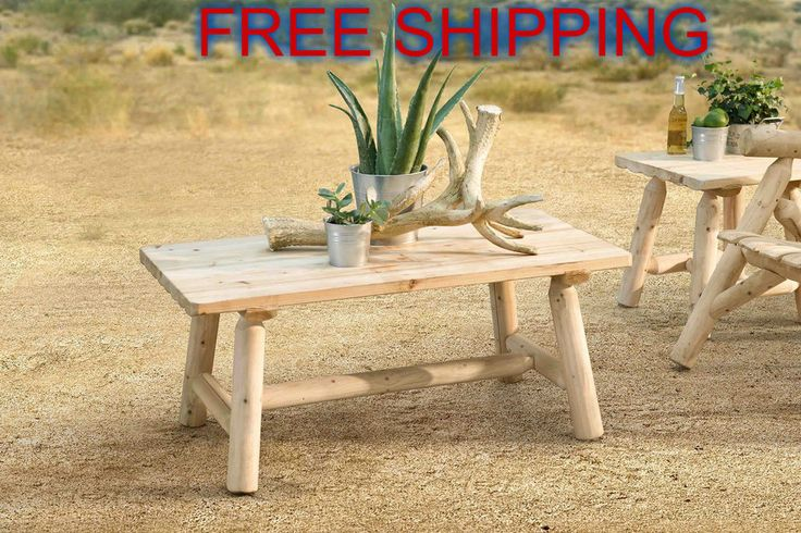 Patio Wooden Coffee Table Dining Natural Outdoor Furniture Traditional Garden #sunjoy