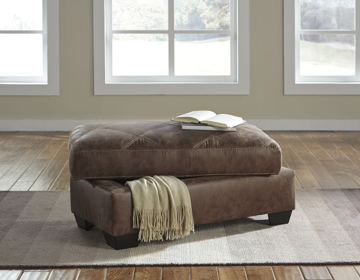 Storage Ottoman with Leather Looking Fabric #ottoman #storagesolutions #livingroomfurniture