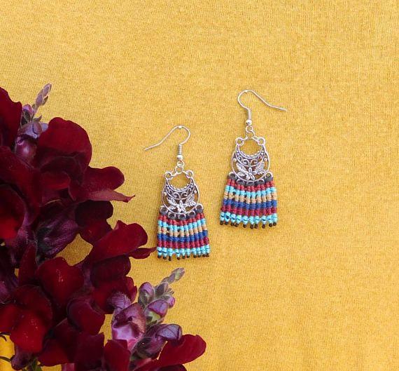 Summer earrings Hippie Earrings, Bohemian Earrings, Macrame Earrings, Festival Earrings, Handmade Earrings, Colorful Earrings, Gift Earrings