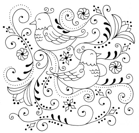 fancy birds embroidery pattern