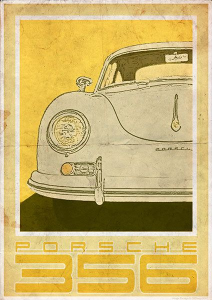 porsche 356 rear vintage style poster par 3ftdeep sur etsy. Black Bedroom Furniture Sets. Home Design Ideas