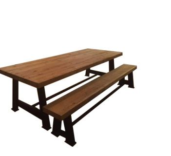 HANDMADE INDUSTRIAL TABLE WITH A CHUNKY OAK TOP. THE RUSTIC TOP HAS BEAUTIFUL INDENTATION WHICH COMPLIMENTS THE CLEAN FINISH OF THE STEEL BASE.   OUR WORKSHOP CAN MAKE THIS TABLE TO ANY SIZE, PLEASE EMAIL US FOR QUOTES ON BENCHES AS WE MAY BE ABLE TO DO A REDUCED DINING SET PRICE.  THE TABLE BASE CAN EITHER COME IN RAW STEEL OR CAN BE POWDER COATED IN A JET BLACK.  TURNAROUND TIME ON THIS TABLE IS CURRENTLY AROUND 4-6 WEEKS.
