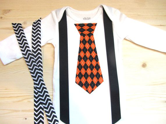 Baby Boy Halloween Clothes - Baby Boys First Halloween - Halloween Outfit - Black and Orange Argyle Tie  - Baby  Suspenders and Tie Outfit on Etsy, $16.99