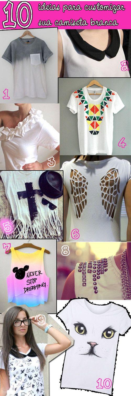 10 ideias para customizar camiseta branca                                                                                                                                                                                 Mais