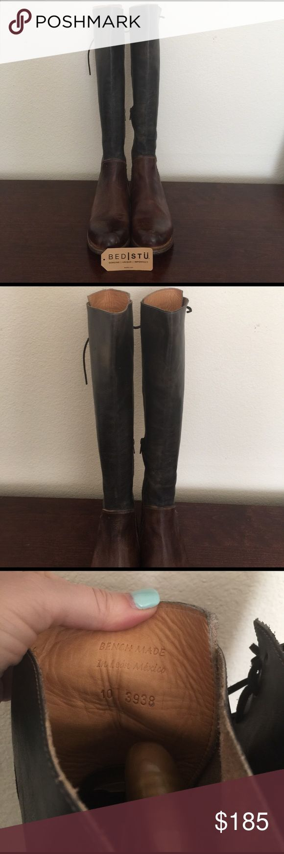 Bed stu Manchester II black/teak rustic size 10 Worn a whole 2 times. Distressed look. Their ad even says imperfect. That's the beauty of it. Get these for a good deal. Next ones up are 250 bucks. These are black and brown so you can wear with both colors. Very versatile and comfortable. Comes to knee as entire boot is 20 inches tall. Make me an offer. I try to price things under the competition which is a quicker sale (so I'm more firm) for me and a better price for you. Will be folded to…