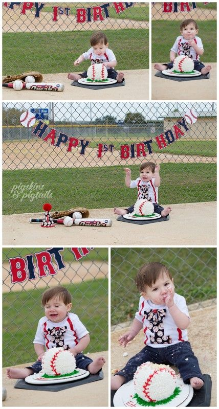 Baseball Theme Cake Smash - First Birthday Photo Session by Pigskins & Pigtails