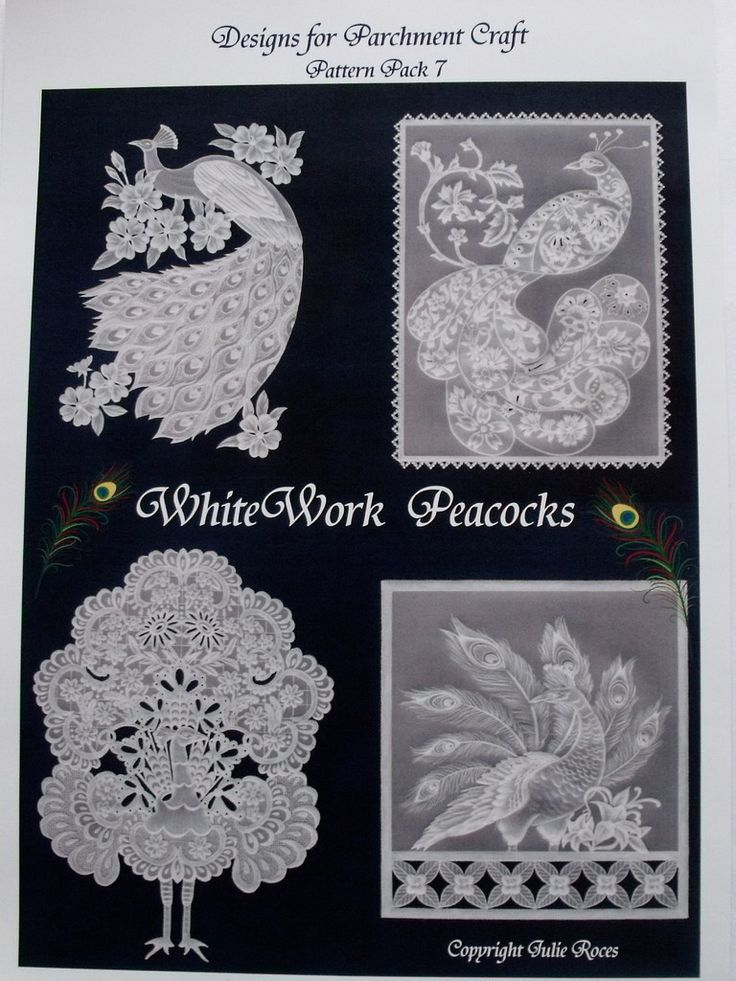WHITE WORK PEACOCKS BY JULIE ROCES      Four fabulous peacock designs, patterns and instructions included.