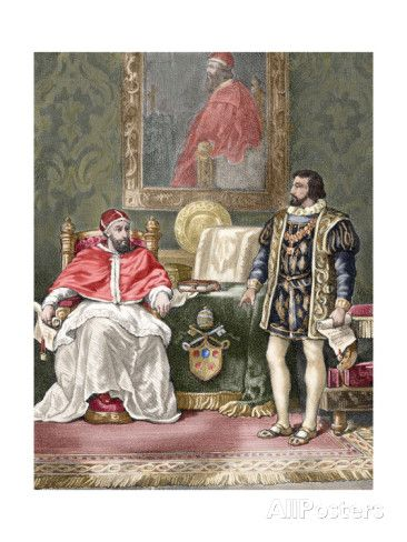 Pope Clement VII (1478?1534), with the King of France Francis I (1494-1547). Colored Engraving Giclee Print at AllPosters.com