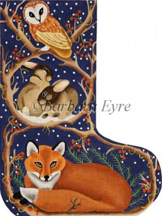 NeedlepointUS - World-class Needlepoint - Barbara Eyre Needlepoint Designs - Hand-painted Christmas Stocking - Night Fox Stocking, Stockings, SRBE1555