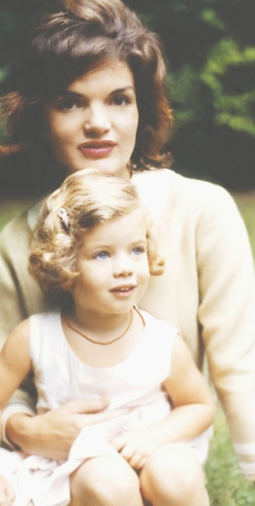 """First Lady ~~~Jacqueline Lee (Bouvier) Kennedy Onassis (commonly known as """"Jackie"""" (July 28, 1929 – May 19, 1994) With Her Daughter Caroline Bouvier Kennedy(born November 27, 1957) ♡✿♡✿♡✿.❀♡✿♡❁♡✾♡✽♡"""