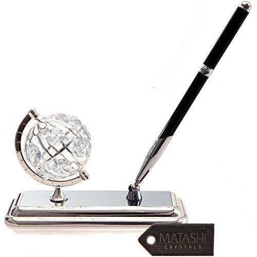 Silver Plated Executive Desk Set With Crystal Topped Pen and Globe Ornament by Matashi