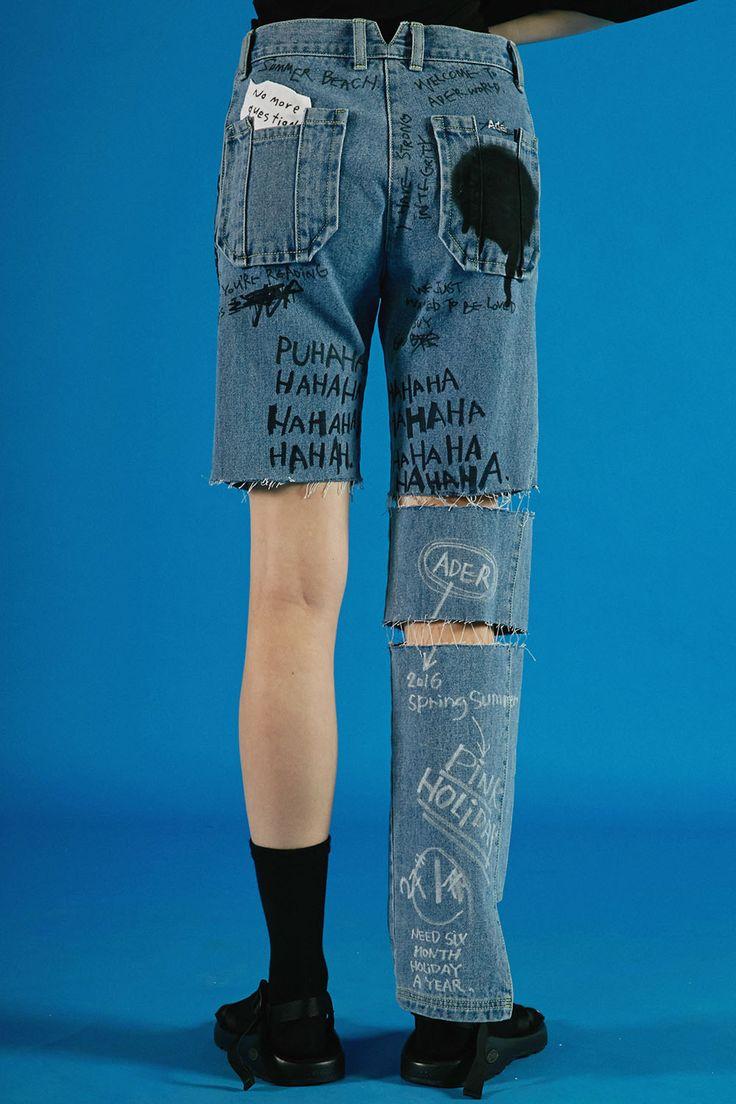ADERerror Contemporary Minimalism Color Edit Denim Pants Text Story Design