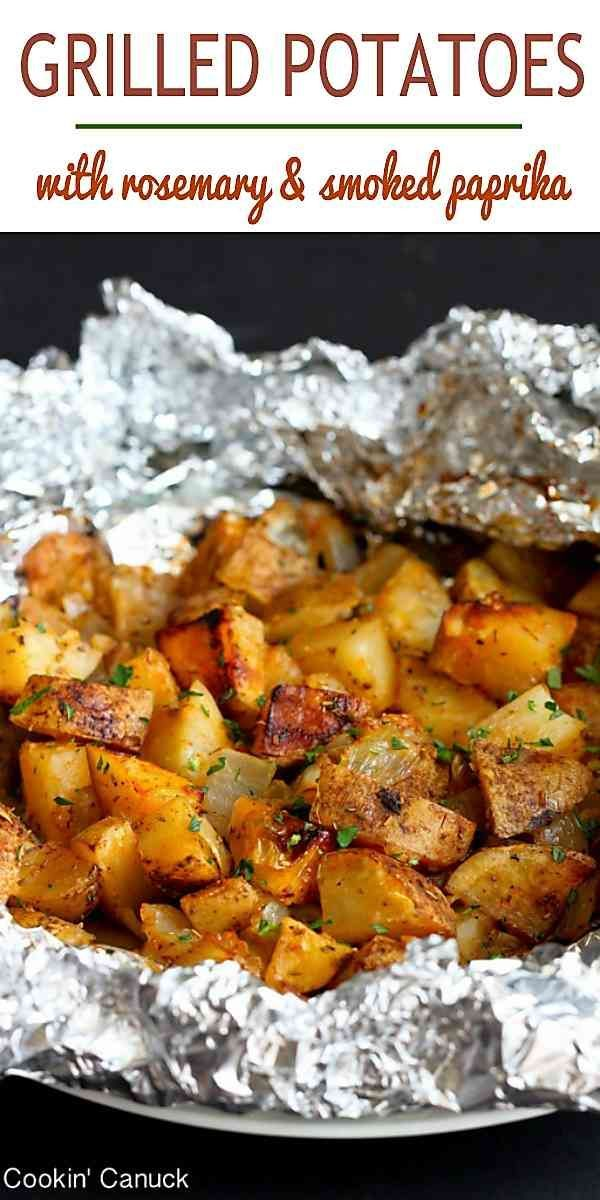 Cooking potatoes on the grill is one of the easiest summertime side dishes! These ones are flavored with smoked paprika and rosemary – an amazing combo! 99 calories and 3 Weight Watchers Freestyle SmartPoints #glutenfree