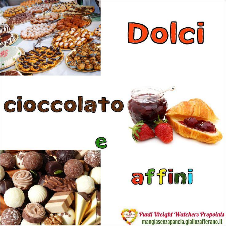 Lista Punti Weight Watchers Dolci Cioccolato e affini per calcolarne il valore da inserire nel diario alimentare quotidiano