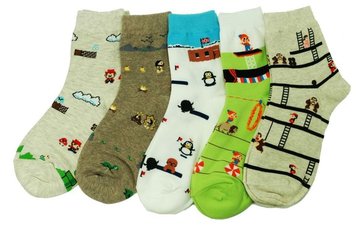 Classic Game Character Socks Circus Charlie Donkey Kong PreHistorik Mario Funny #GGORANGNAE #Casual