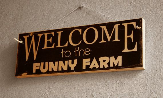 Funny Welcome Sign  Welcome To The Funny Farm  Wooden by NicheWood