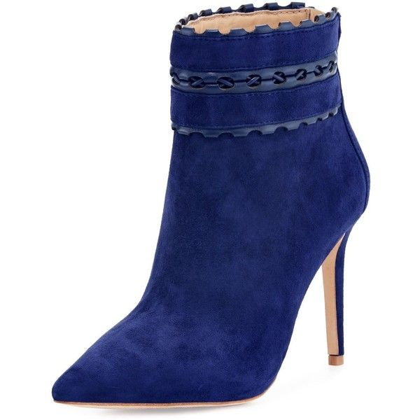 Badgley Mischka Dorsey Suede Bootie with Woven Leather Trim ($172) ❤ liked on Polyvore featuring shoes, boots, ankle booties, ankle boots, navy, navy blue ankle boots, navy blue bootie, pointed toe booties, pointed toe bootie and pointed toe ankle boots