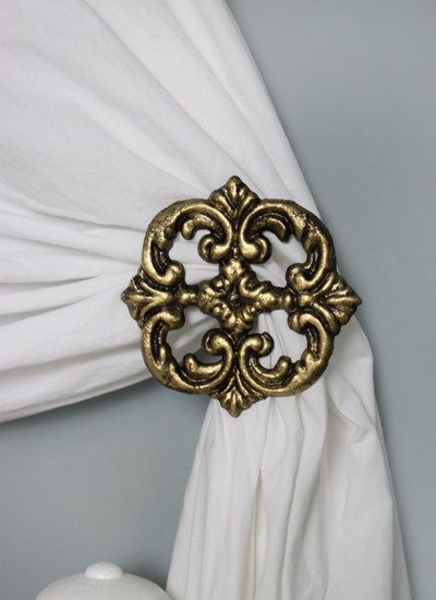 Curtain Tie back, Set of 2, Curtain Holdback- Etsy (would these work for our room mounted to angled trim?)