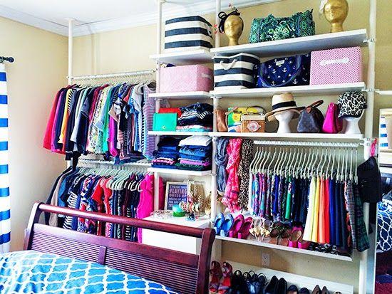 History In High Heels Closet Tour   Ikea Stolemen System · Open ClosetsOrganized  ClosetsSmall ...