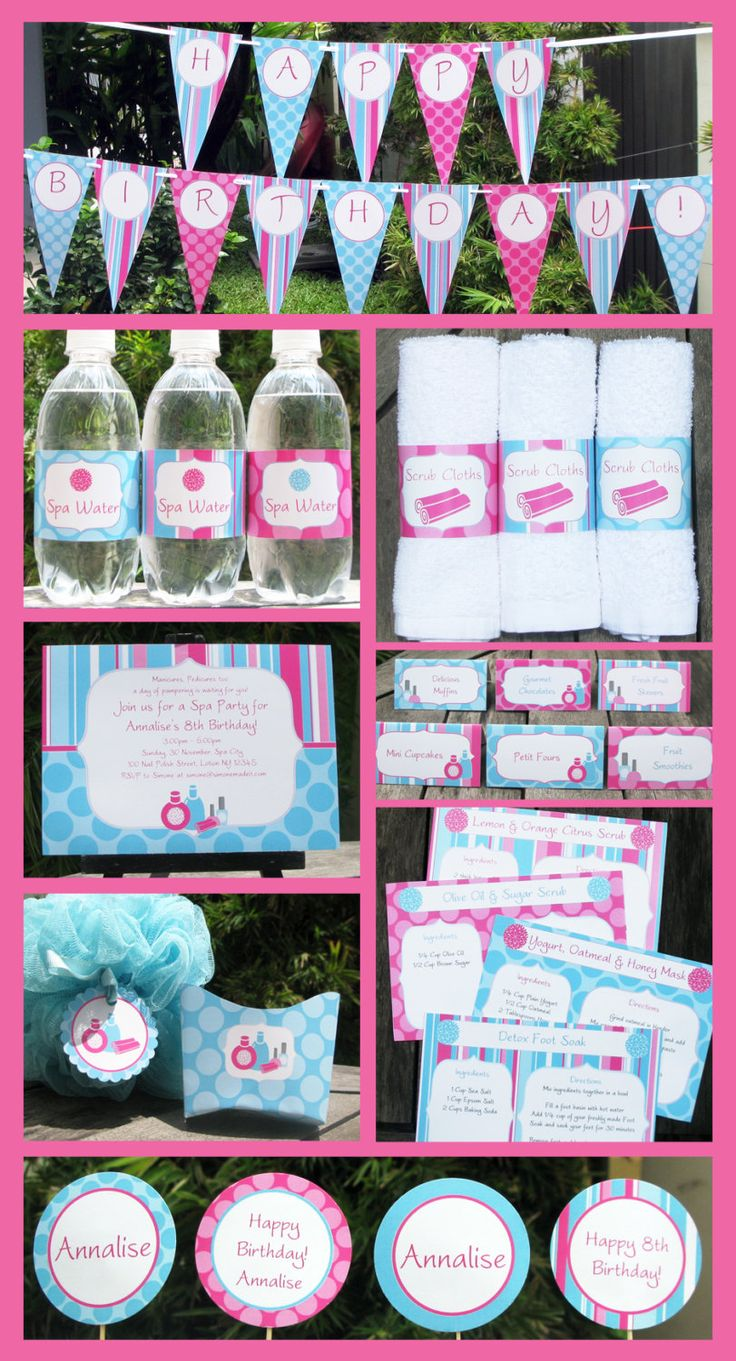 Spa Party:  Ladybug ended up choosing this style.  So cute & what a bargain! (Invitation & Printable Party Collection, EDITABLE text PDF file - you personalize at home with Adobe Reader. $14.95, via Etsy.)