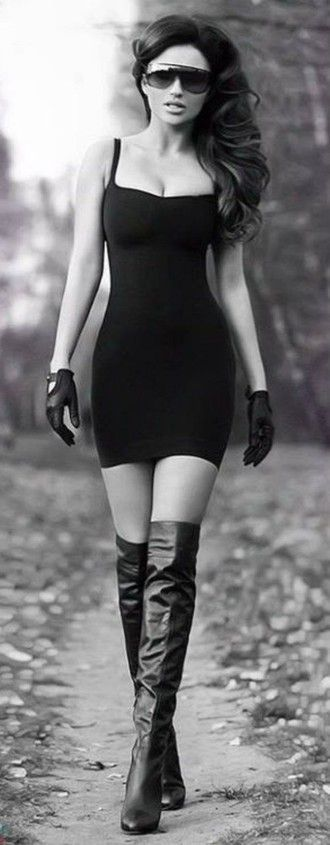 fashion sunglasses black sunglasses dress spaghetti strap black dress short dress gloves leather gloves leather thigh high boots fashion curly hair date dress aviator sunglasses glasses top crop tops bustier dress high heels high heels boots stiletto nails stilettos #blackhighheelswithstrap #highheelbootsthigh