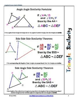 similarity~showing triangles are similar~foldable~aa~sas~sss~hs