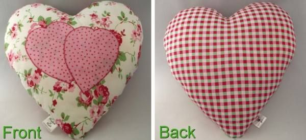 Fabric Heart Shape Cushion. This pretty cushion is made from cotton fabric. Size approx. 35.5cm x 33cm.  All my handmade items are made in a smoke free home.  PRICE: £8.00 + P&P