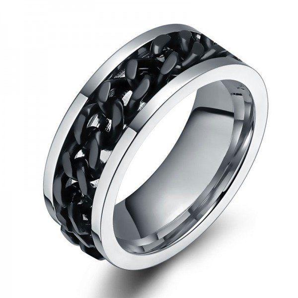 Cadena de acero de titanio de 2 tonos Negro Banda de hombres rotativos