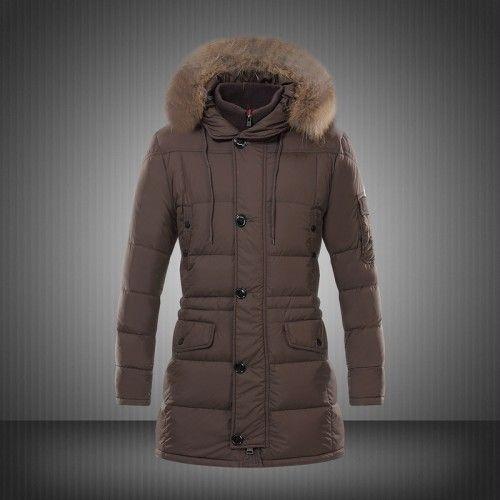 Købe Billig Moncler Down Vinter Jakker Fur Hood Herre Brun Udsalg