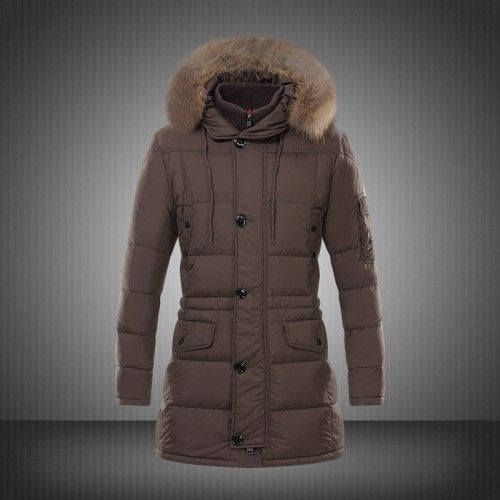 Nieuwe Moncler Down Jacket Fur Hood Winterjassen Heren Bruin Kopen winterjassen