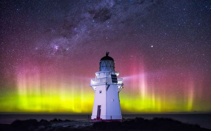 Waipapa Lighthouse With The Aurora Australis - We Spent Winter In New Zealand Photographing The Incredible Night Sky | Bored Panda