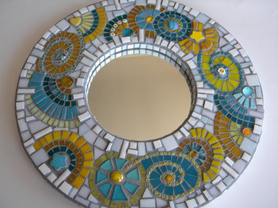 Abstract Turquoise and Yellow Mosaic Mirror - Original Art