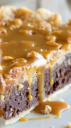 Peanut Butter Fudge Pie with Salted Peanut Butter Caramel