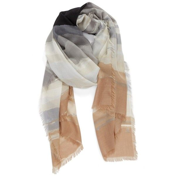 Nordstrom 'Watercolor Block' Cashmere & Silk Scarf found on Polyvore featuring accessories, scarves, neutral combo, pure silk scarves, patterned scarves, silk shawl, fringe scarves and print scarves
