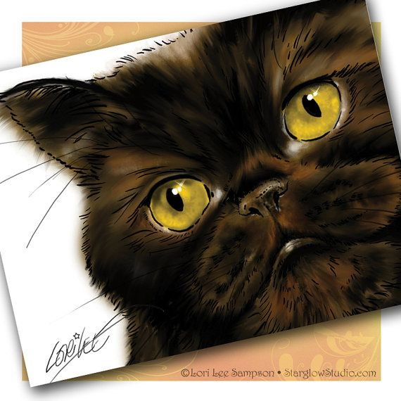 Black Persian Cat Note Cards: This is one of my pet portrait paintings of a rescued cat I fostered through a local group.