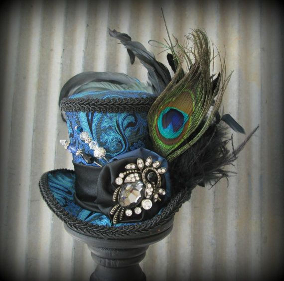 Blue and Black Mini Top Hat Mad hatter Hat Alice in by ChikiBird -- Totally in love with this color!