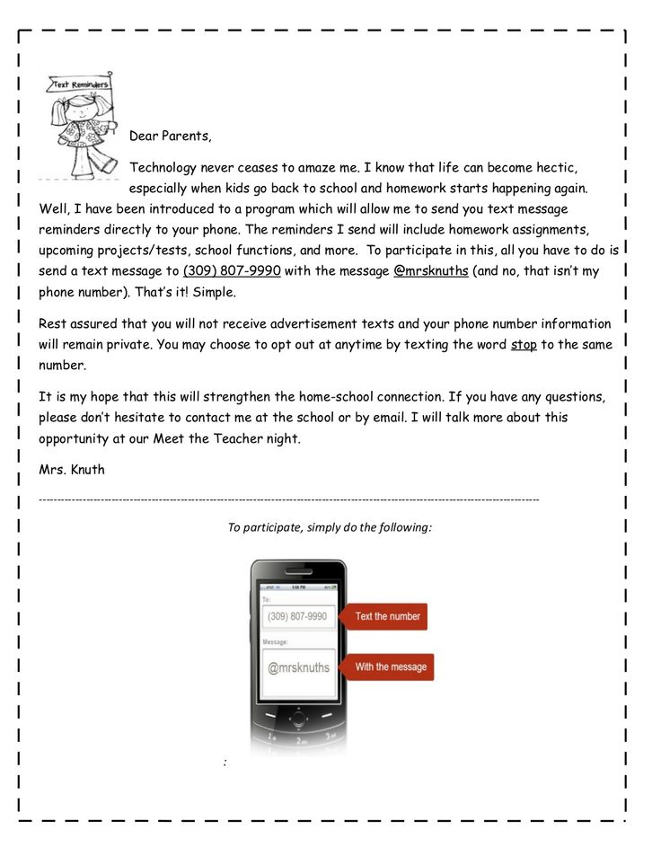 Remind 101 parent letter  Could adapt to for Middle or High School