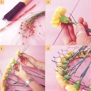 per Benjamin: Using chicken wire and floral wires to support floral arrangements.
