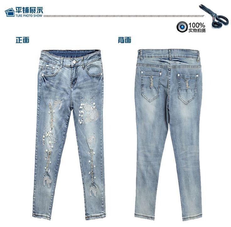 Pencil jeans mujer siete pantalones vaqueros rasgados flacos bordado de perlas de diamantes gato pantalones vaqueros mujer pantalones vaqueros y en Jeans de Moda y Complementos Mujer en AliExpress.com | Alibaba Group
