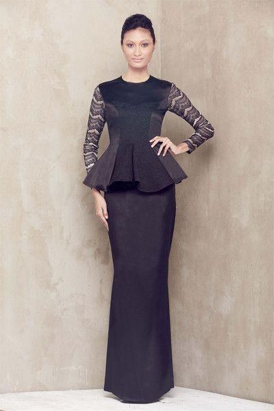 Duchess Satin Peplum Baju Kurung - Black