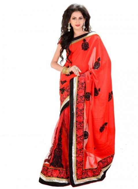 Dazzling Diva Deep Scarlet Red Color Chiffon Based Embroidered #Saree With Resham Work #clothing #fashion #womenwear #womenapparel #ethnicwear