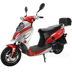 "MC-N012 50cc Moped Scooter with 10"" Wheels, Rear Trunk! Electric/Kick Start! Large Headlight!"