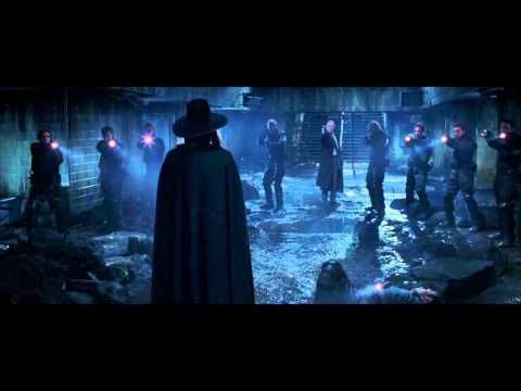 """One of the best fight scenes, in keeping with the artistic style of the graphic novel.  """"Beneath this mask there is an idea.  And ideas are bullet proof.""""  - V for Vendetta."""
