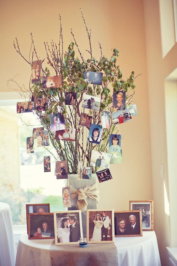 50th Anniversary-- Like the idea of a family tree with pics of kids and grandkids. Use a pretty container for base and leafless tree limbs, gold ribbons.
