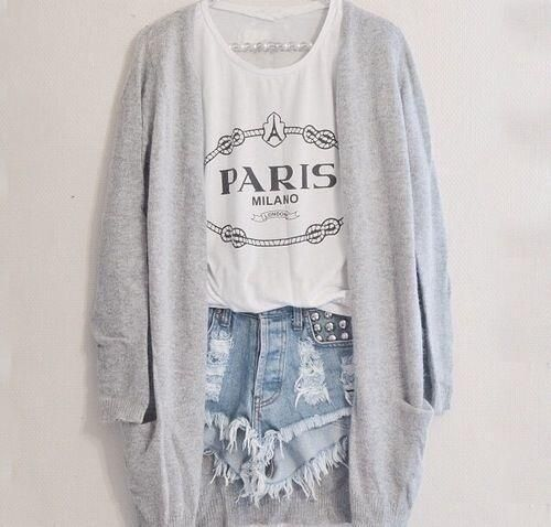 Graphic tee/tank, slouchy cardigan and shorts